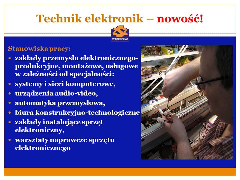 Technik elektronik – nowość! Stanowiska pracy: zakłady przemysłu elektronicznego- produkcyjne, montażowe, usługowe w zależności od specjalności: syste