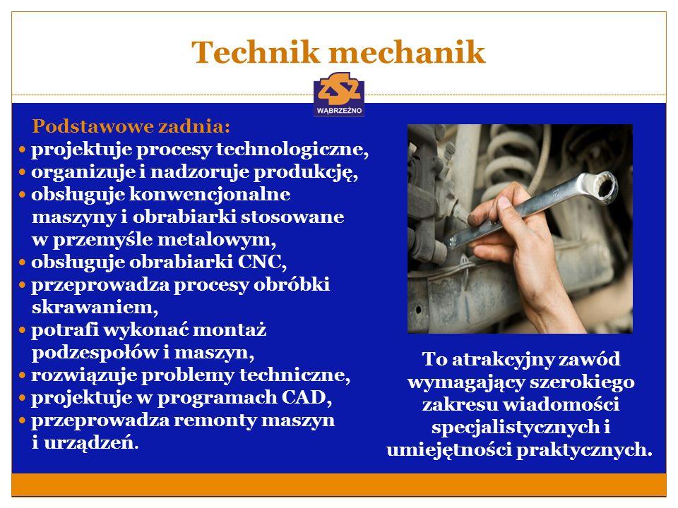 Technik mechanik Podstawowe zadnia: projektuje procesy technologiczne, organizuje i nadzoruje produkcję, obsługuje konwencjonalne maszyny i obrabiarki
