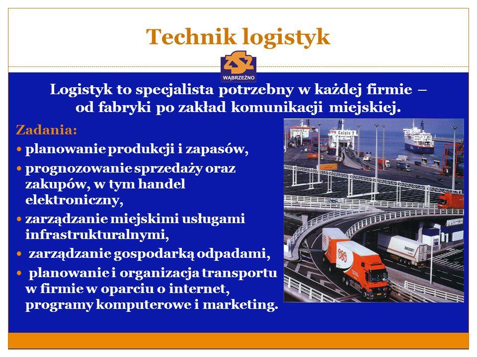 Technik logistyk Logistyk to specjalista potrzebny w każdej firmie – od fabryki po zakład komunikacji miejskiej. Zadania: planowanie produkcji i zapas