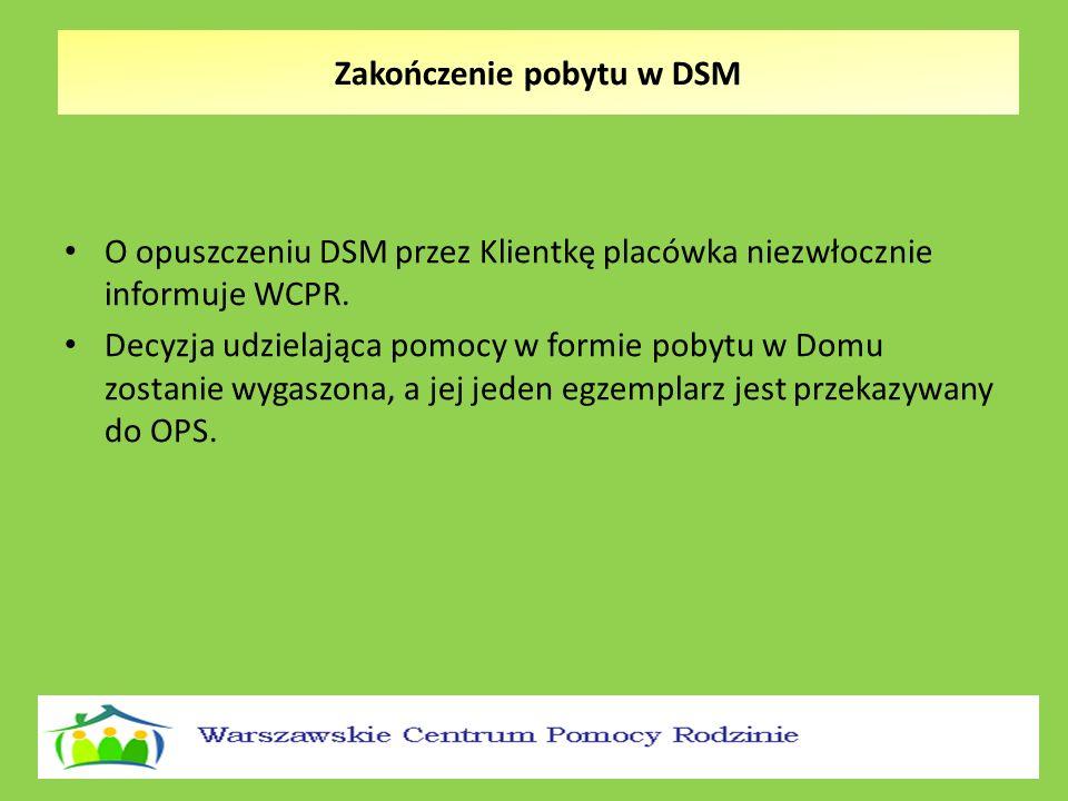 O opuszczeniu DSM przez Klientkę placówka niezwłocznie informuje WCPR. Decyzja udzielająca pomocy w formie pobytu w Domu zostanie wygaszona, a jej jed