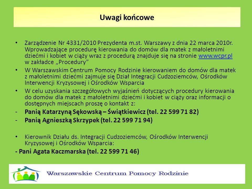 Zarządzenie Nr 4331/2010 Prezydenta m.st. Warszawy z dnia 22 marca 2010r. Wprowadzające procedurę kierowania do domów dla matek z małoletnimi dziećmi