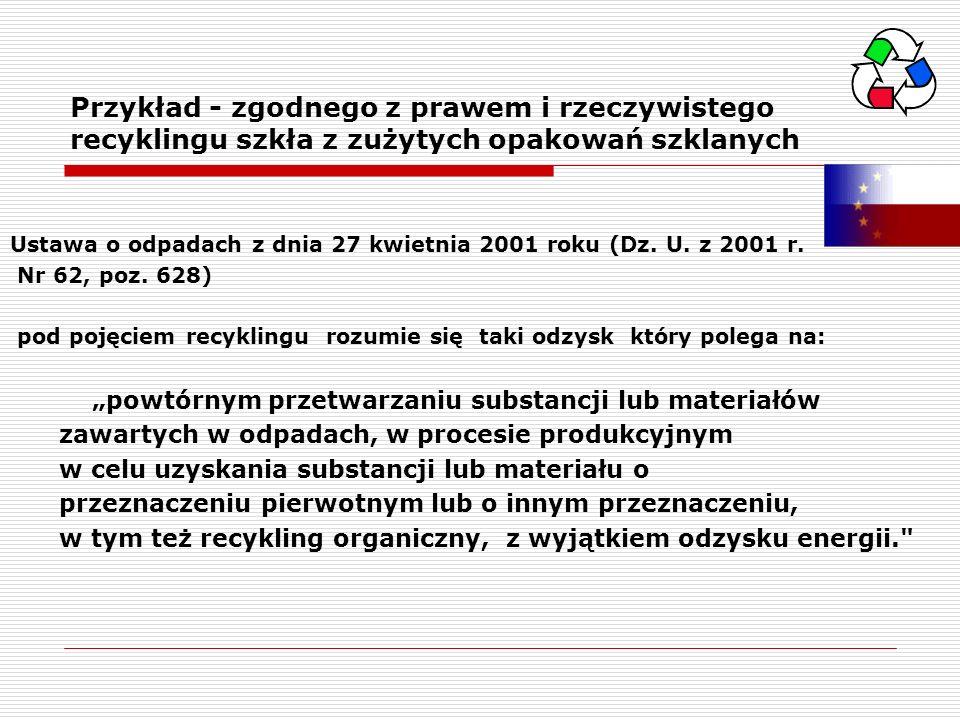 Przykład - zgodnego z prawem i rzeczywistego recyklingu szkła z zużytych opakowań szklanych Ustawa o odpadach z dnia 27 kwietnia 2001 roku (Dz. U. z 2
