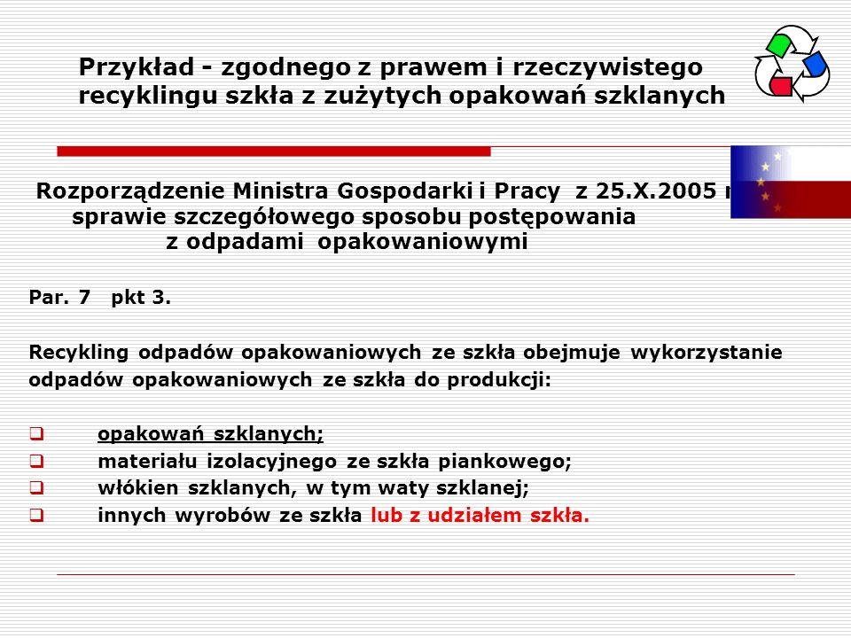 Rozporządzenie Ministra Gospodarki i Pracy z 25.X.2005 r. w sprawie szczegółowego sposobu postępowania z odpadami opakowaniowymi Par. 7 pkt 3. Recykli
