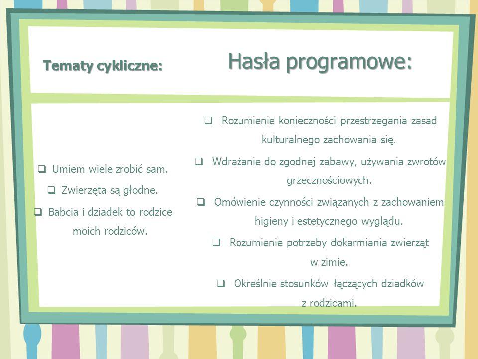 Tematy cykliczne: Hasła programowe: Rozumienie konieczności przestrzegania zasad kulturalnego zachowania się. Wdrażanie do zgodnej zabawy, używania zw