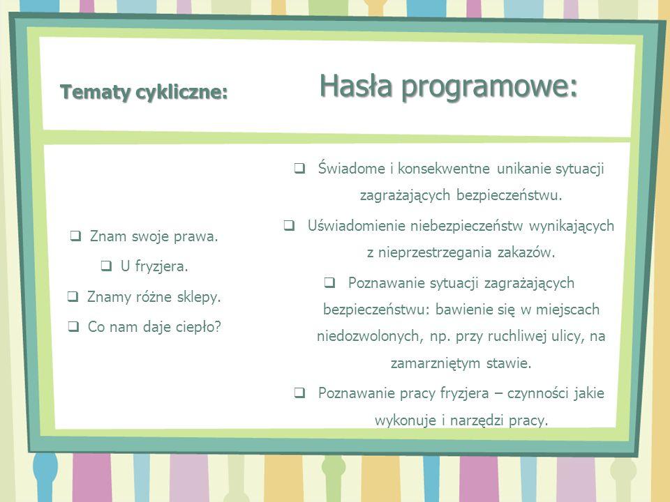 Tematy cykliczne: Hasła programowe: Świadome i konsekwentne unikanie sytuacji zagrażających bezpieczeństwu. Uświadomienie niebezpieczeństw wynikającyc