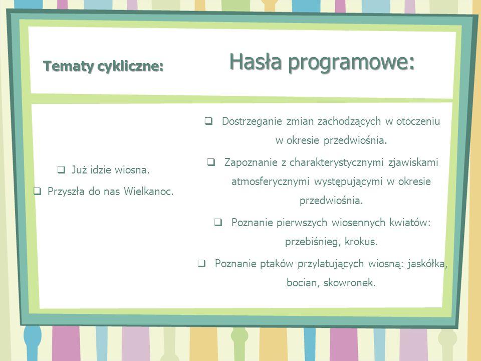 Tematy cykliczne: Hasła programowe: Dostrzeganie zmian zachodzących w otoczeniu w okresie przedwiośnia. Zapoznanie z charakterystycznymi zjawiskami at