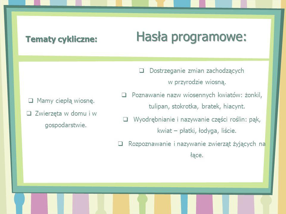 Tematy cykliczne: Hasła programowe: Dostrzeganie zmian zachodzących w przyrodzie wiosną. Poznawanie nazw wiosennych kwiatów: żonkil, tulipan, stokrotk