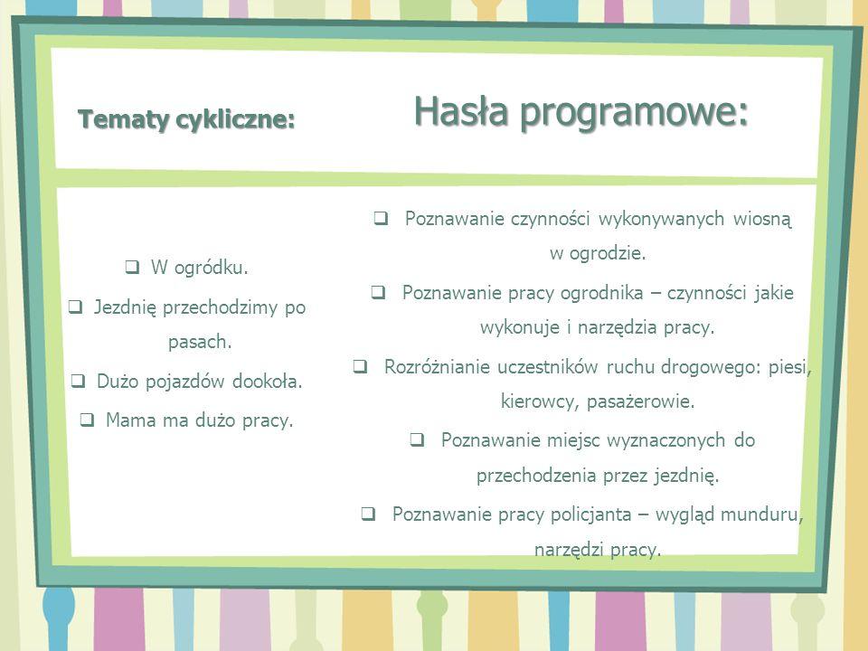 Tematy cykliczne: Hasła programowe: Poznawanie czynności wykonywanych wiosną w ogrodzie. Poznawanie pracy ogrodnika – czynności jakie wykonuje i narzę