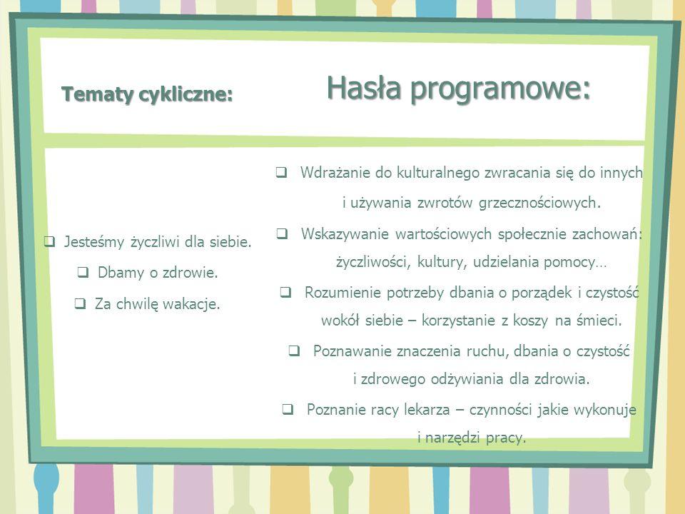 Tematy cykliczne: Hasła programowe: Wdrażanie do kulturalnego zwracania się do innych i używania zwrotów grzecznościowych. Wskazywanie wartościowych s