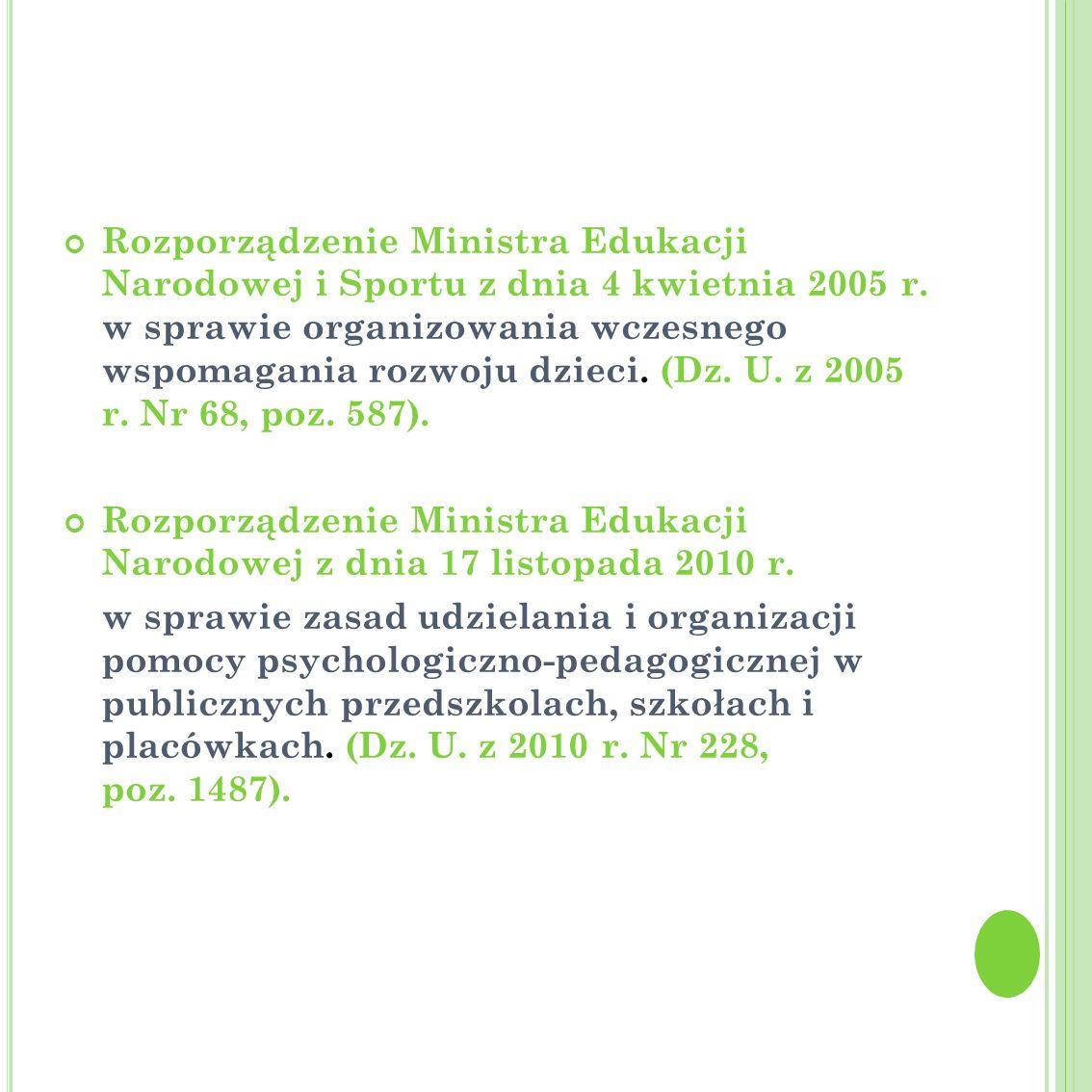 Rozporządzenie Ministra Edukacji Narodowej i Sportu z dnia 4 kwietnia 2005 r. w sprawie organizowania wczesnego wspomagania rozwoju dzieci. (Dz. U. z