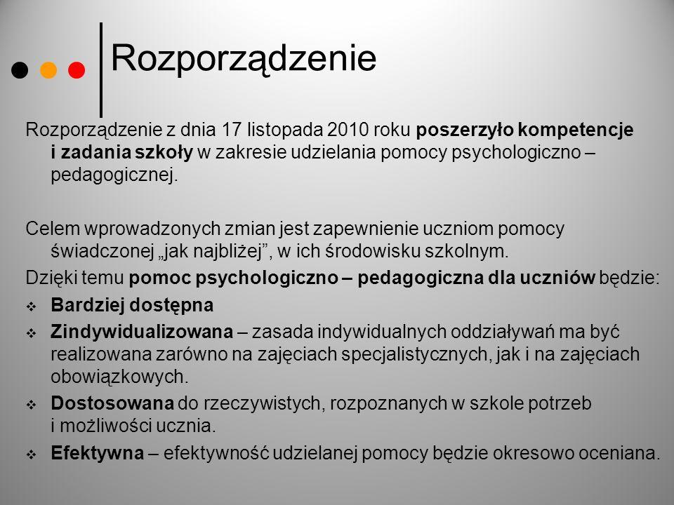 Rozporządzenie Rozporządzenie z dnia 17 listopada 2010 roku poszerzyło kompetencje i zadania szkoły w zakresie udzielania pomocy psychologiczno – peda