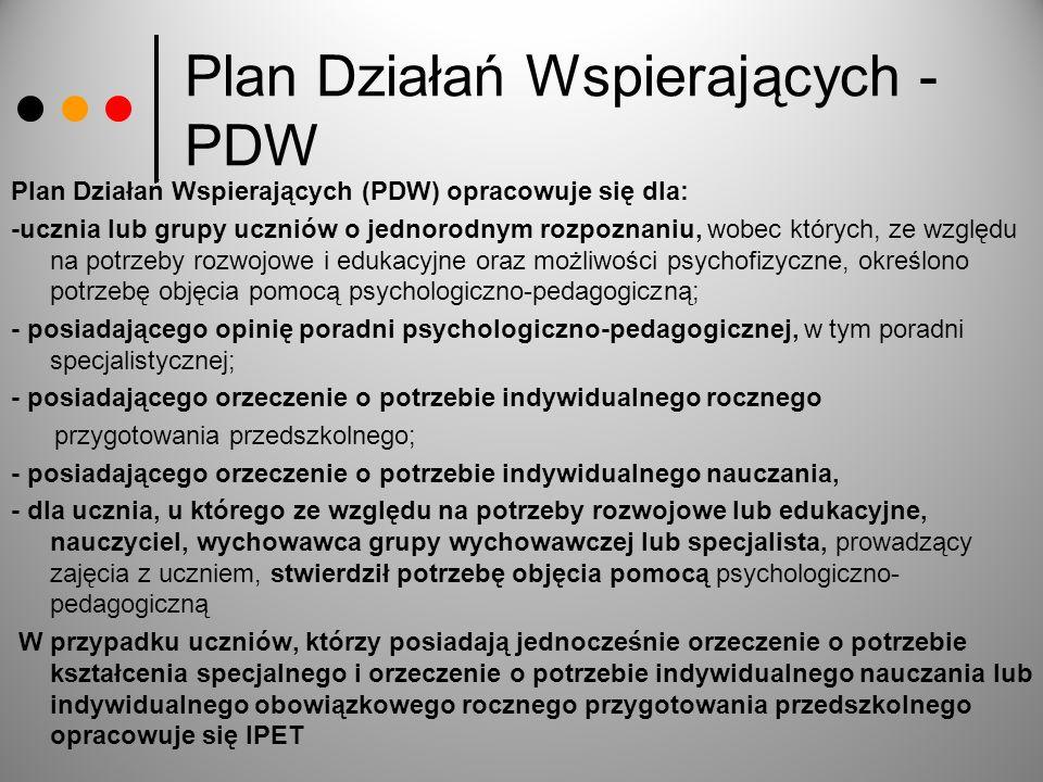Plan Działań Wspierających - PDW Plan Działań Wspierających (PDW) opracowuje się dla: -ucznia lub grupy uczniów o jednorodnym rozpoznaniu, wobec który