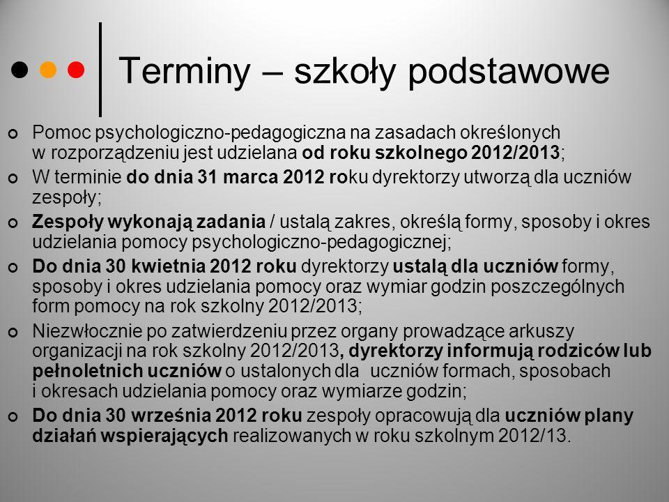 Terminy – szkoły podstawowe Pomoc psychologiczno-pedagogiczna na zasadach określonych w rozporządzeniu jest udzielana od roku szkolnego 2012/2013; W t