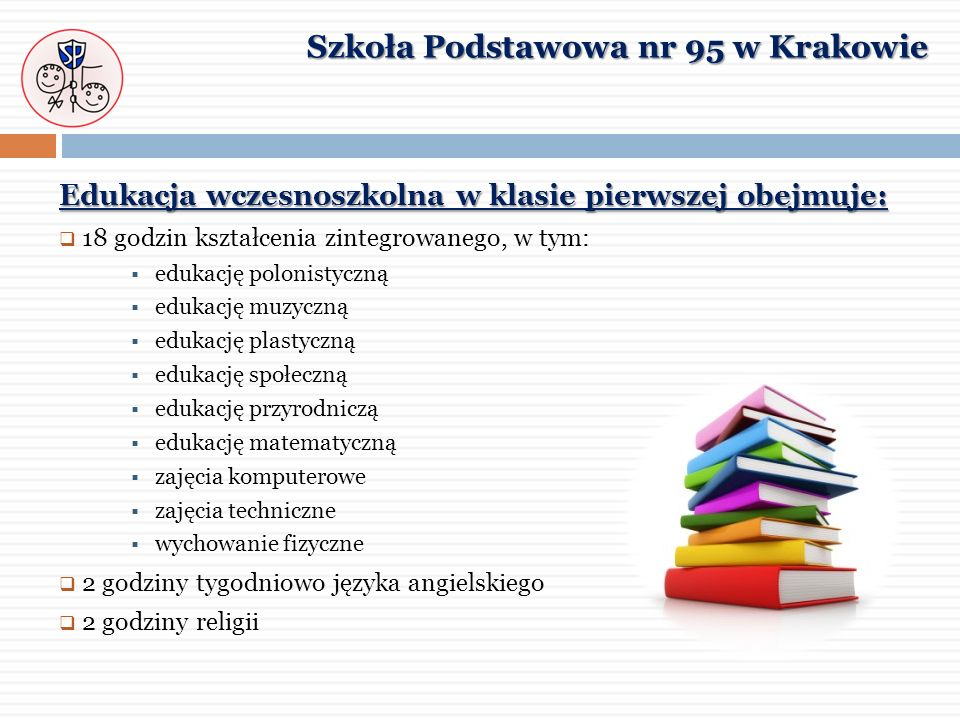 Edukacja wczesnoszkolna w klasie pierwszej obejmuje: 18 godzin kształcenia zintegrowanego, w tym: edukację polonistyczną edukację muzyczną edukację pl