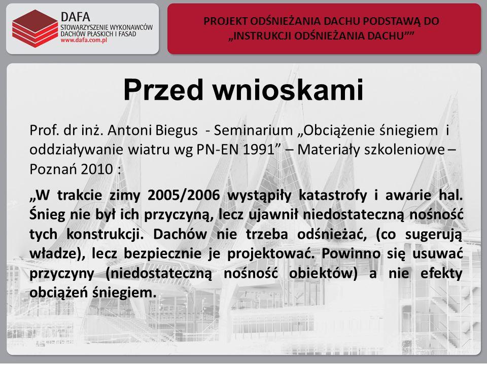 PROJEKT ODŚNIEŻANIA DACHU PODSTAWĄ DO INSTRUKCJI ODŚNIEŻANIA DACHU Przed wnioskami Prof. dr inż. Antoni Biegus - Seminarium Obciążenie śniegiem i oddz