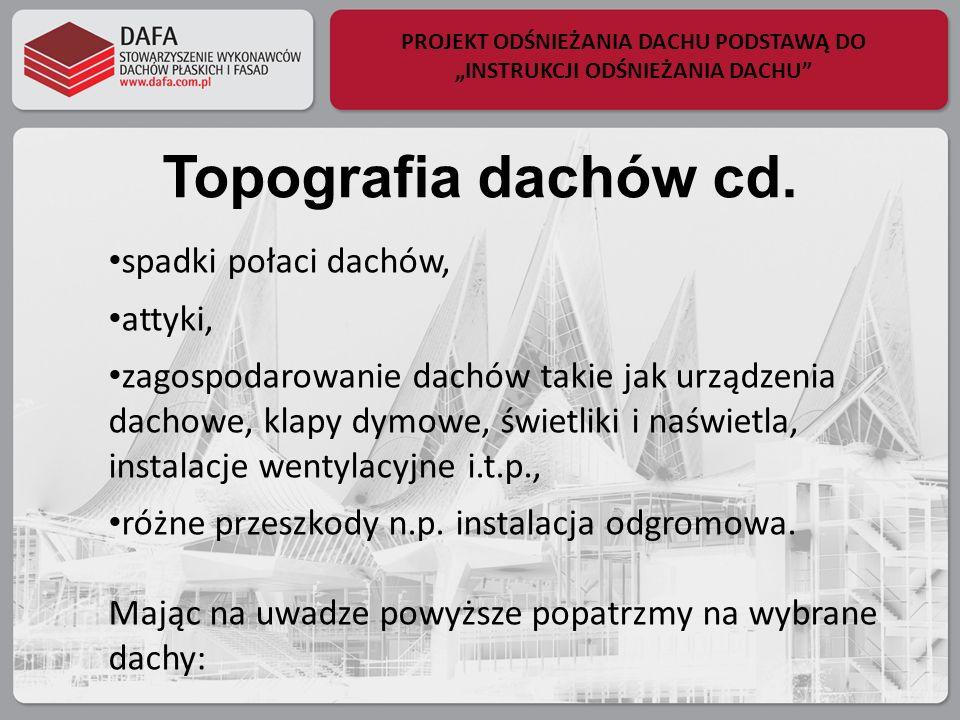 PROJEKT ODŚNIEŻANIA DACHU PODSTAWĄ DO INSTRUKCJI ODŚNIEŻANIA DACHU Topografia dachów cd. spadki połaci dachów, attyki, zagospodarowanie dachów takie j