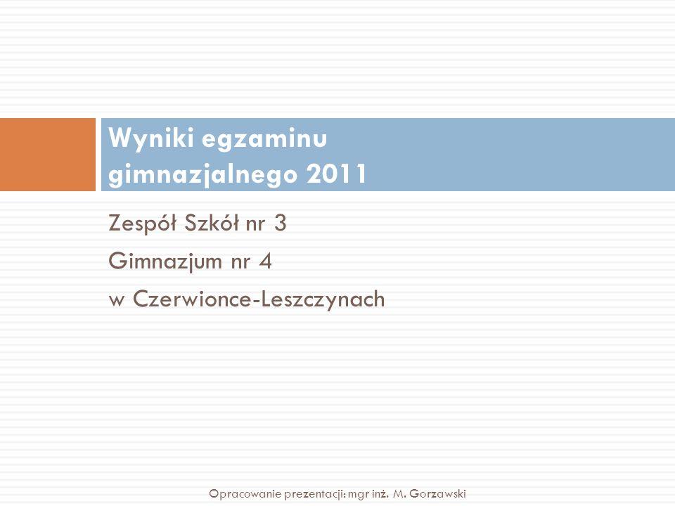 Zespół Szkół nr 3 Gimnazjum nr 4 w Czerwionce-Leszczynach Wyniki egzaminu gimnazjalnego 2011 Opracowanie prezentacji: mgr inż. M. Gorzawski
