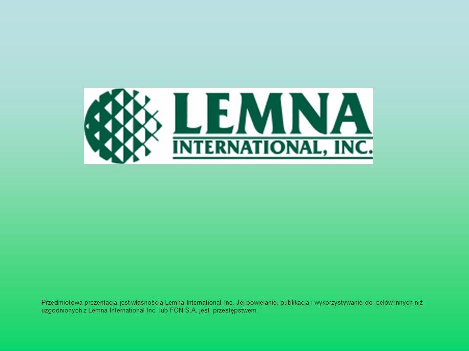 Przedmiotowa prezentacją jest własnością Lemna International Inc. Jej powielanie, publikacja i wykorzystywanie do celów innych niż uzgodnionych z Lemn