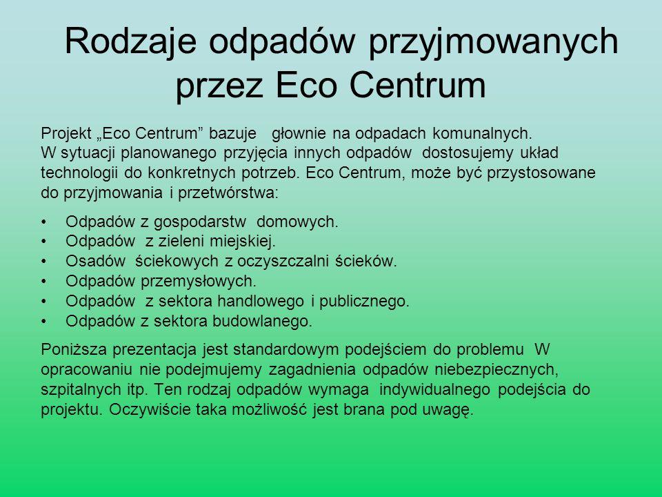 Rodzaje odpadów przyjmowanych przez Eco Centrum Projekt Eco Centrum bazuje głownie na odpadach komunalnych. W sytuacji planowanego przyjęcia innych od
