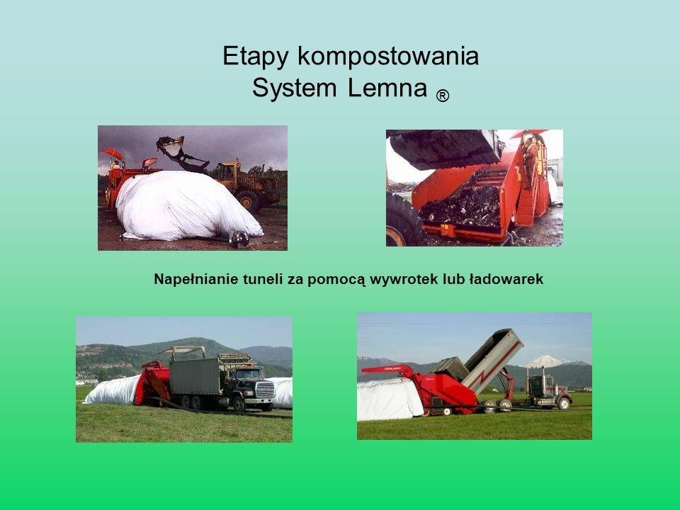 Napełnianie tuneli za pomocą wywrotek lub ładowarek Etapy kompostowania System Lemna ®