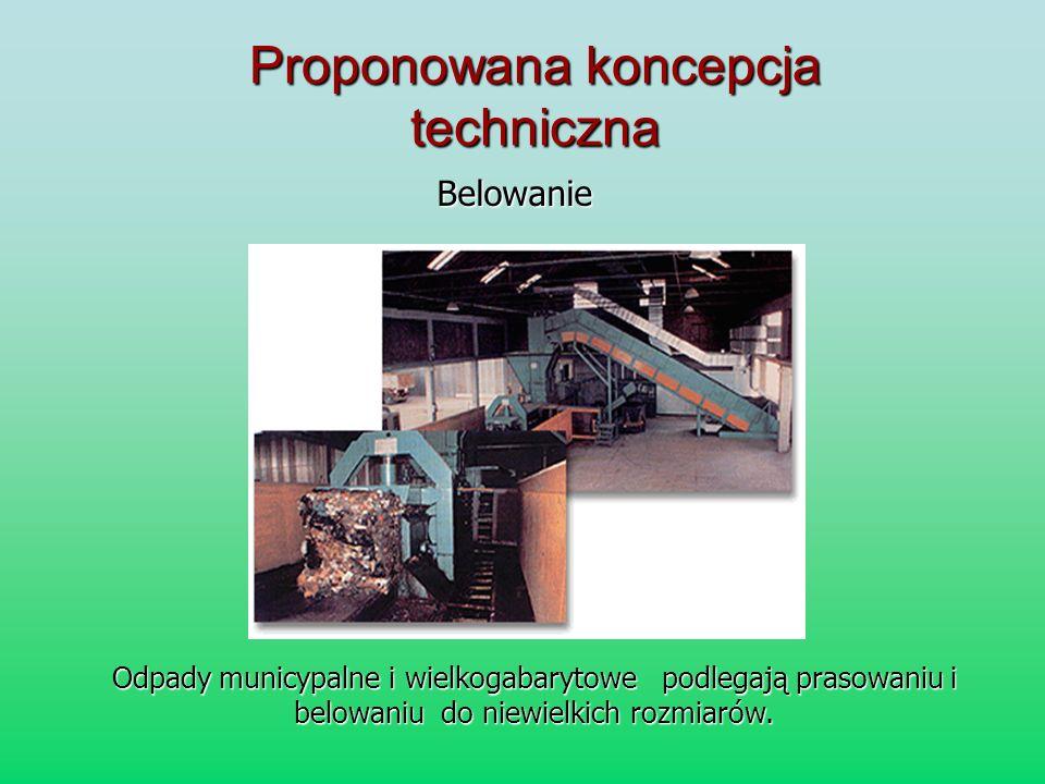Proponowana koncepcja techniczna Belowanie Odpady municypalne i wielkogabarytowe podlegają prasowaniu i belowaniu do niewielkich rozmiarów.