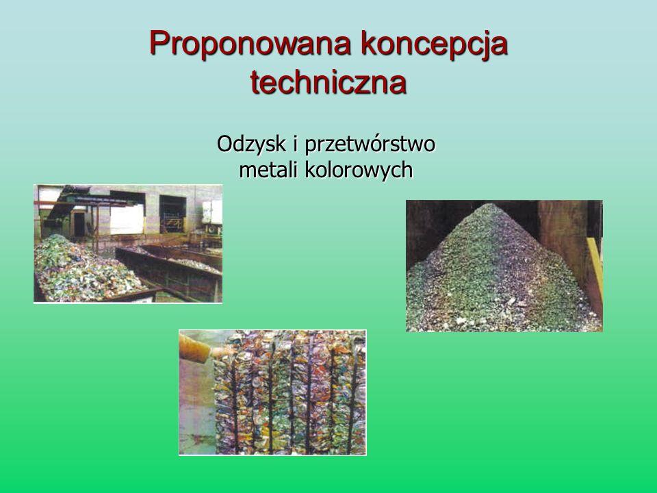 Proponowana koncepcja techniczna Odzysk i przetwórstwo metali kolorowych