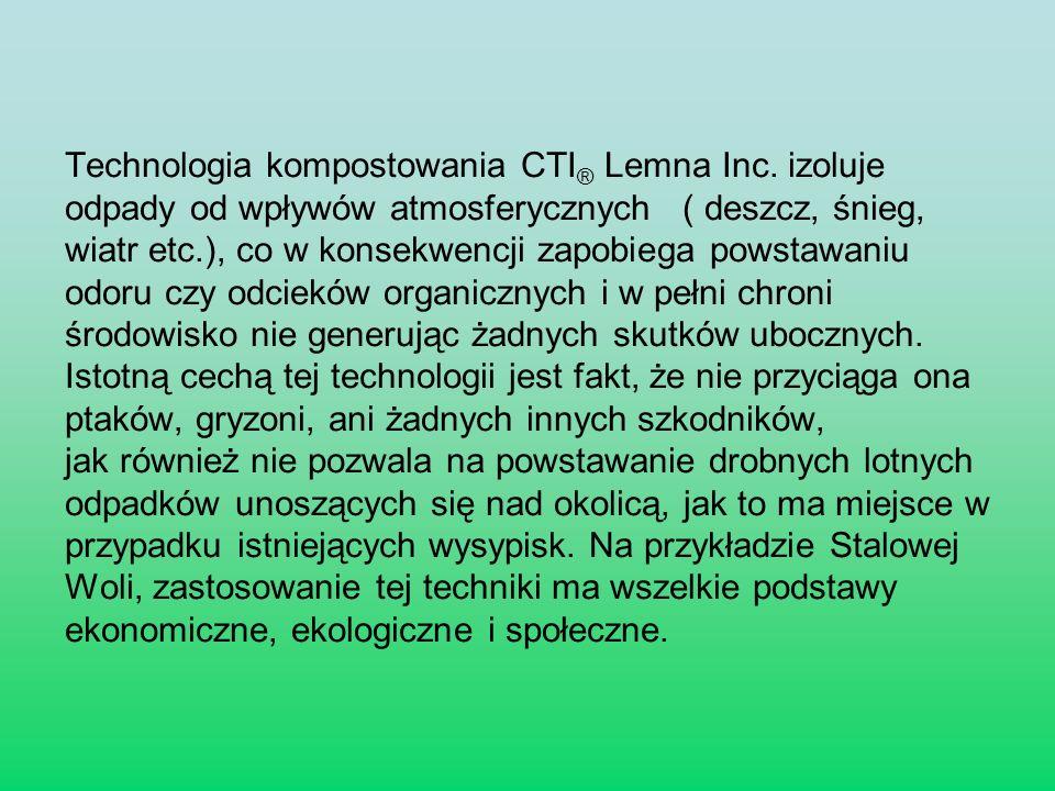 Technologia kompostowania CTI ® Lemna Inc. izoluje odpady od wpływów atmosferycznych ( deszcz, śnieg, wiatr etc.), co w konsekwencji zapobiega powstaw
