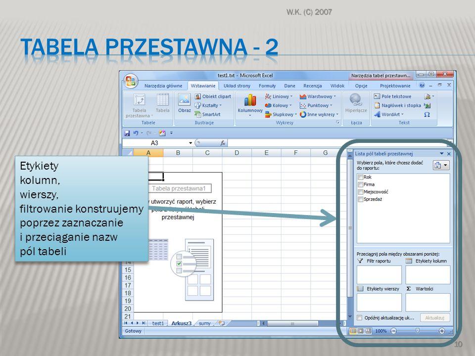 W.K. (C) 2007 10 Etykiety kolumn, wierszy, filtrowanie konstruujemy poprzez zaznaczanie i przeciąganie nazw pól tabeli Etykiety kolumn, wierszy, filtr