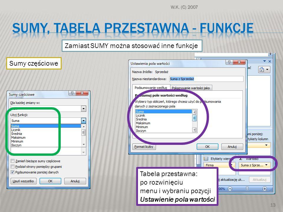 W.K. (C) 2007 13 Zamiast SUMY można stosować inne funkcje Sumy częściowe Tabela przestawna: po rozwinięciu menu i wybraniu pozycji Ustawienie pola war