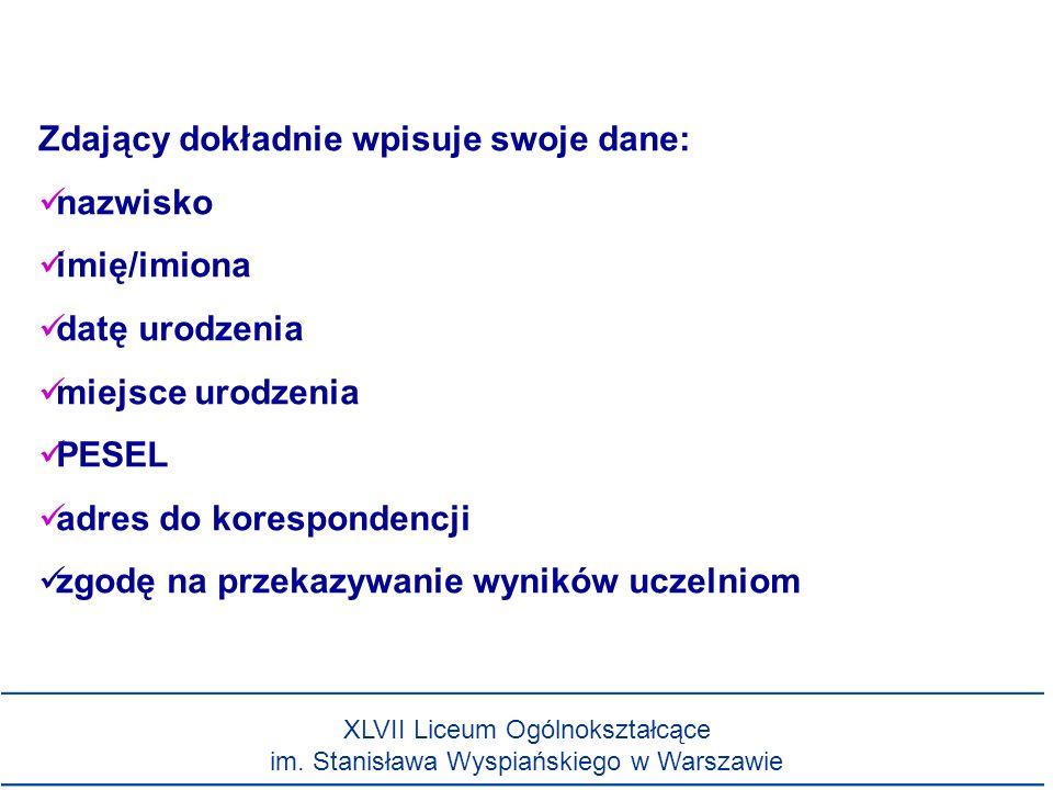 W deklaracji uczeń podaje: temat prezentacji z języka polskiego wybrany obowiązkowy język obcy nowożytny przedmioty dodatkowo wybrane oraz ich poziom środowisko komputerowe, język programowania, program użytkowy z informatyki XLVII Liceum Ogólnokształcące im.