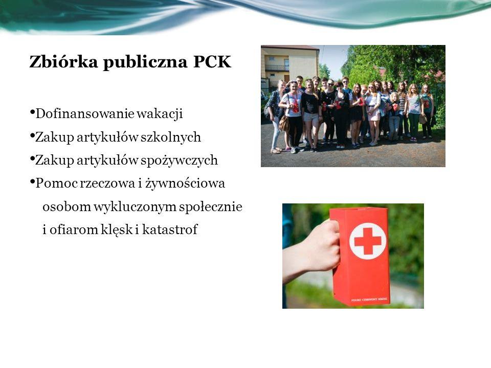 Zbiórka publiczna PCK Dofinansowanie wakacji Zakup artykułów szkolnych Zakup artykułów spożywczych Pomoc rzeczowa i żywnościowa osobom wykluczonym spo