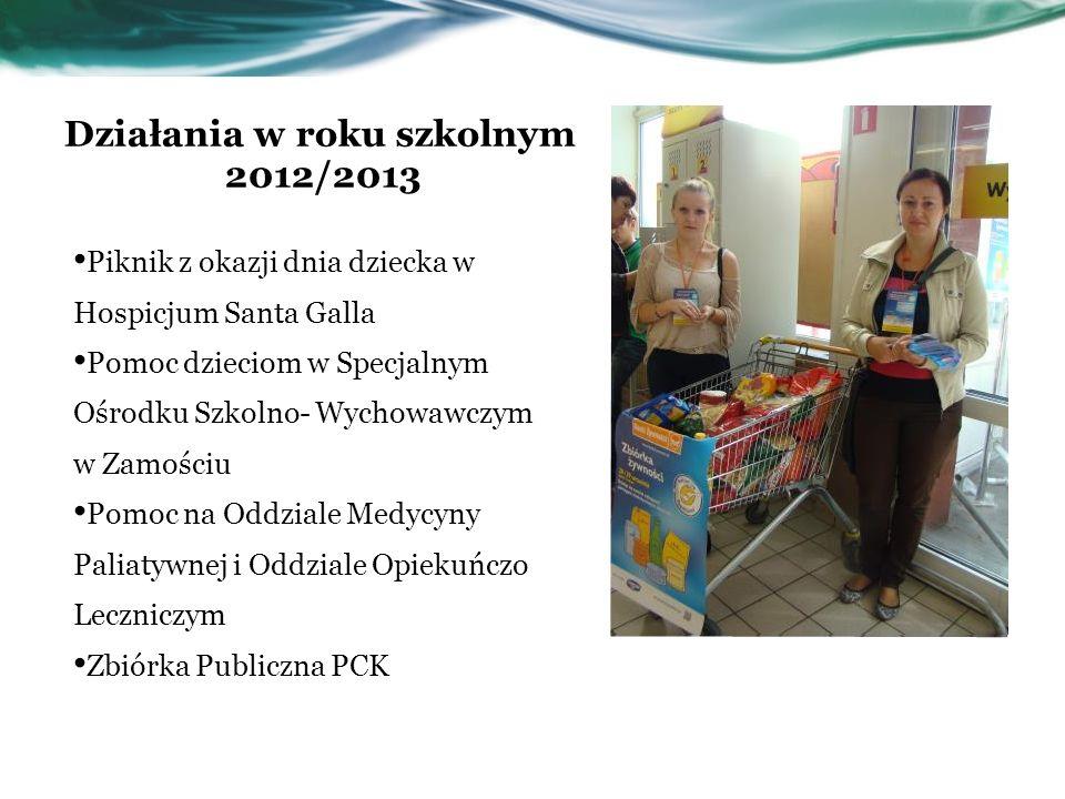 Działania w roku szkolnym 2012/2013 Piknik z okazji dnia dziecka w Hospicjum Santa Galla Pomoc dzieciom w Specjalnym Ośrodku Szkolno- Wychowawczym w Z