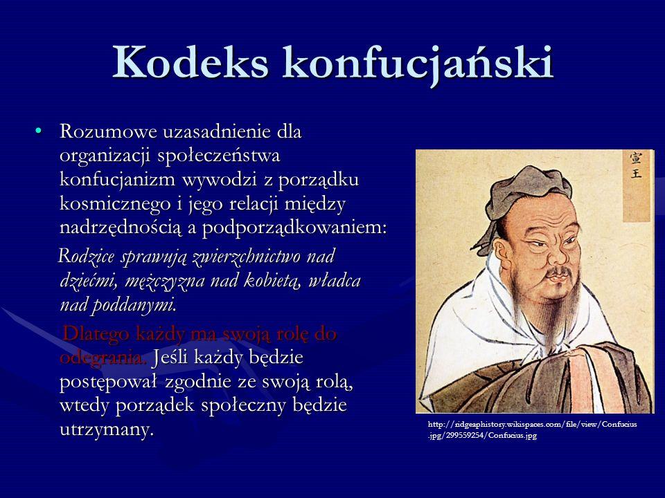 Kodeks konfucjański Rozumowe uzasadnienie dla organizacji społeczeństwa konfucjanizm wywodzi z porządku kosmicznego i jego relacji między nadrzędności