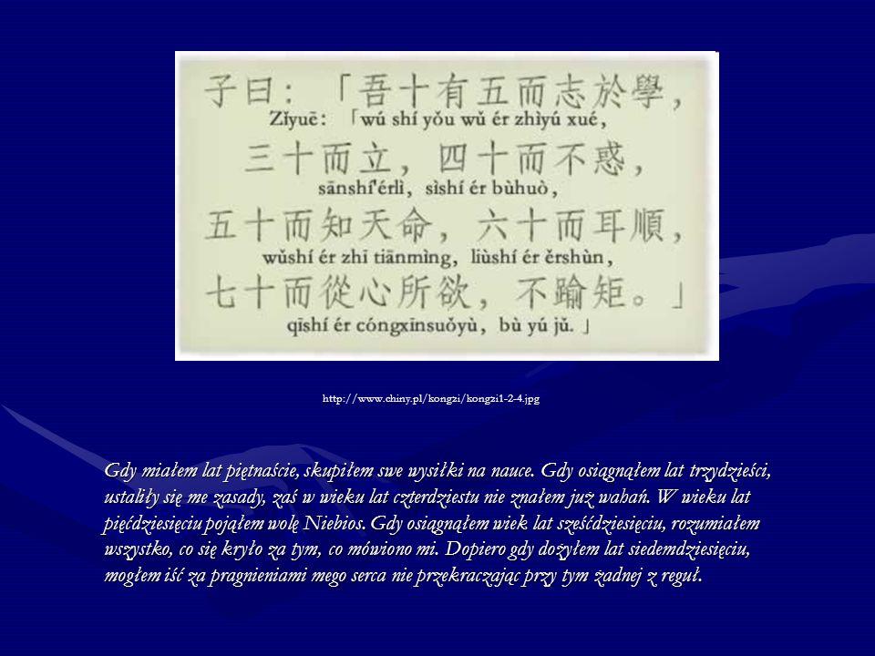 http://www.chiny.pl/kongzi/kongzi1-2-4.jpg Gdy miałem lat piętnaście, skupiłem swe wysiłki na nauce. Gdy osiągnąłem lat trzydzieści, ustaliły się me z