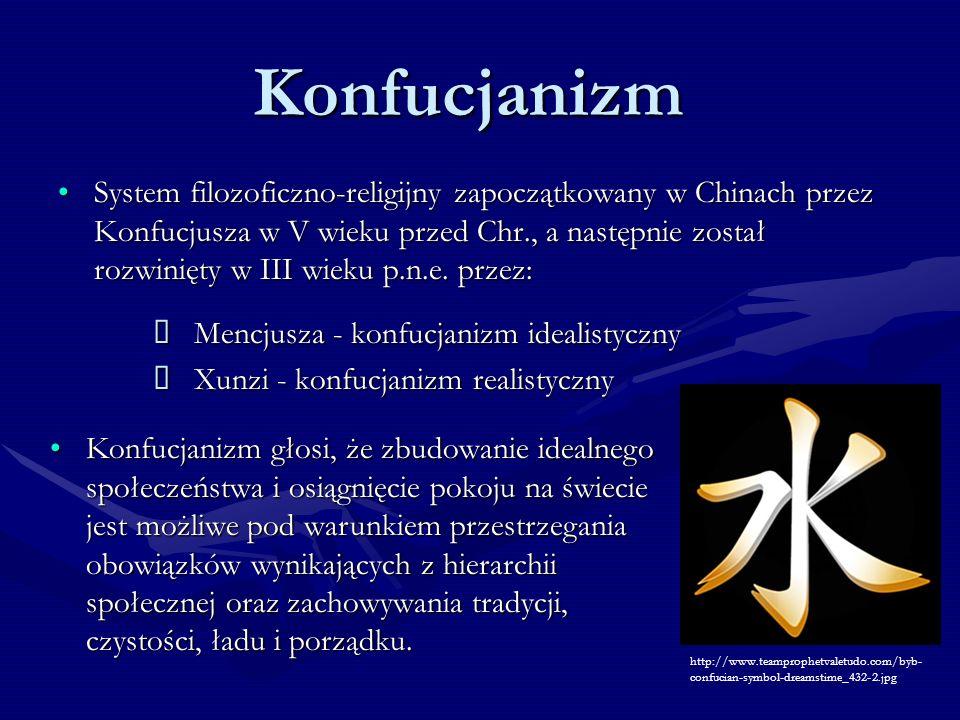 Konfucjanizm System filozoficzno-religijny zapoczątkowany w Chinach przez Konfucjusza w V wieku przed Chr., a następnie został rozwinięty w III wieku