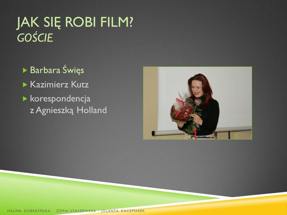 JAK SIĘ ROBI FILM? GOŚCIE Barbara Święs Kazimierz Kutz korespondencja z Agnieszką Holland HALINA DOBRZYŃSKA · ZOFIA STASZEWSKA · JOLANTA KACZMAREK