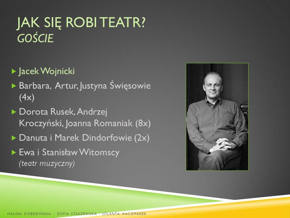 JAK SIĘ ROBI TEATR? GOŚCIE Jacek Wojnicki Barbara, Artur, Justyna Święsowie (4x) Dorota Rusek, Andrzej Kroczyński, Joanna Romaniak (8x) Danuta i Marek