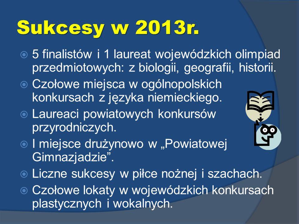 Sukcesy w 2013r. 5 finalistów i 1 laureat wojewódzkich olimpiad przedmiotowych: z biologii, geografii, historii. Czołowe miejsca w ogólnopolskich konk