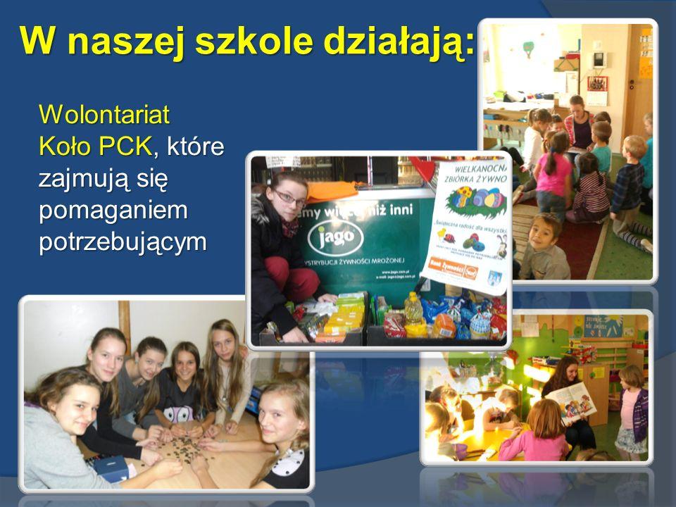 W naszej szkole działają: Wolontariat Koło PCK, które zajmują się pomaganiem potrzebującym
