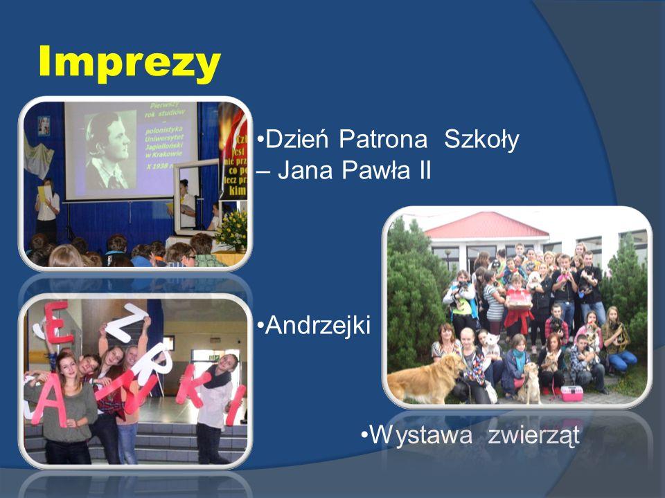 Imprezy Dzień Patrona Szkoły – Jana Pawła II Andrzejki Wystawa zwierząt