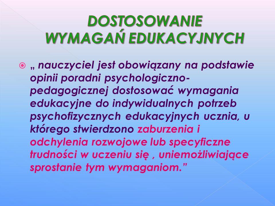 nauczyciel jest obowiązany na podstawie opinii poradni psychologiczno- pedagogicznej dostosować wymagania edukacyjne do indywidualnych potrzeb psychof