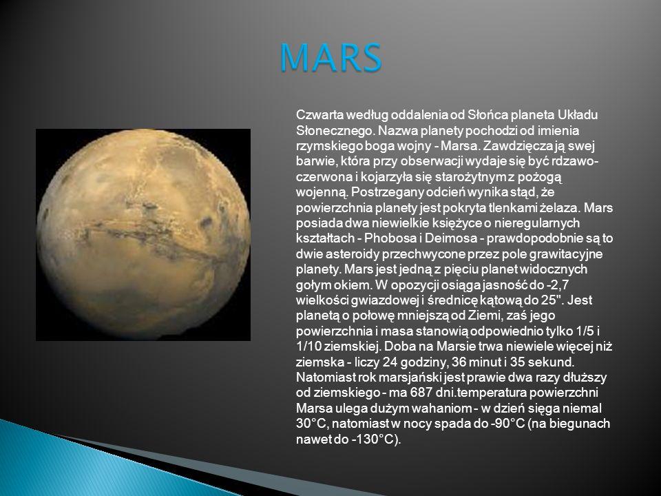Czwarta według oddalenia od Słońca planeta Układu Słonecznego. Nazwa planety pochodzi od imienia rzymskiego boga wojny - Marsa. Zawdzięcza ją swej bar