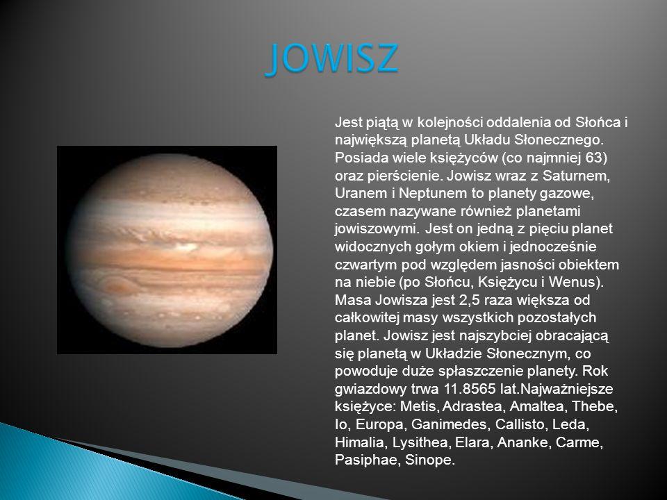 Jest piątą w kolejności oddalenia od Słońca i największą planetą Układu Słonecznego. Posiada wiele księżyców (co najmniej 63) oraz pierścienie. Jowisz