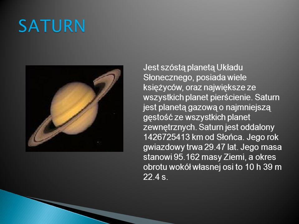 Jest szóstą planetą Układu Słonecznego, posiada wiele księżyców, oraz największe ze wszystkich planet pierścienie. Saturn jest planetą gazową o najmni