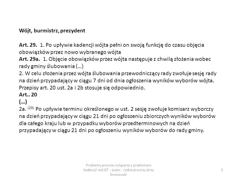 Ślubowanie Samorząd gminy Art.23a. 1.