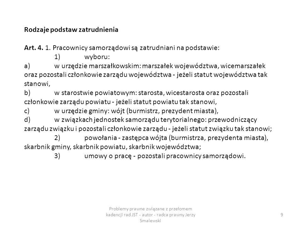 S 50 Problemy prawne związane z przełomem kadencji rad JST - autor - radca prawny Jerzy Smalewski