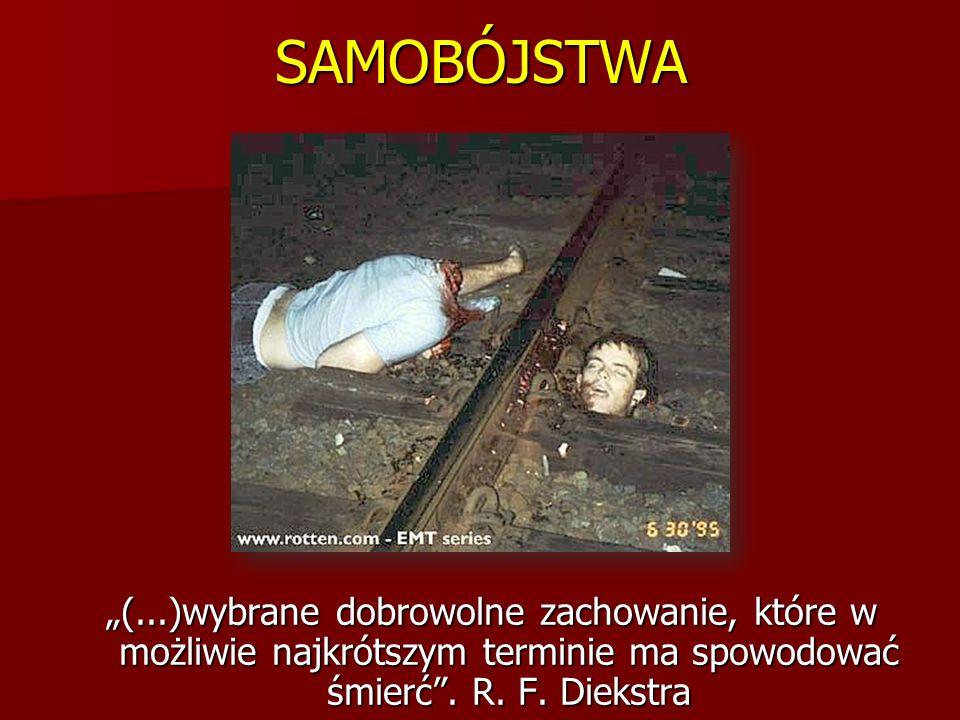 SAMOBÓJSTWA (...)wybrane dobrowolne zachowanie, które w możliwie najkrótszym terminie ma spowodować śmierć. R. F. Diekstra
