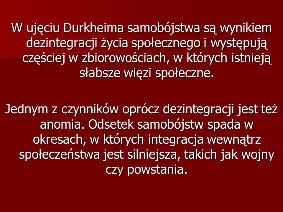 W ujęciu Durkheima samobójstwa są wynikiem dezintegracji życia społecznego i występują częściej w zbiorowościach, w których istnieją słabsze więzi spo