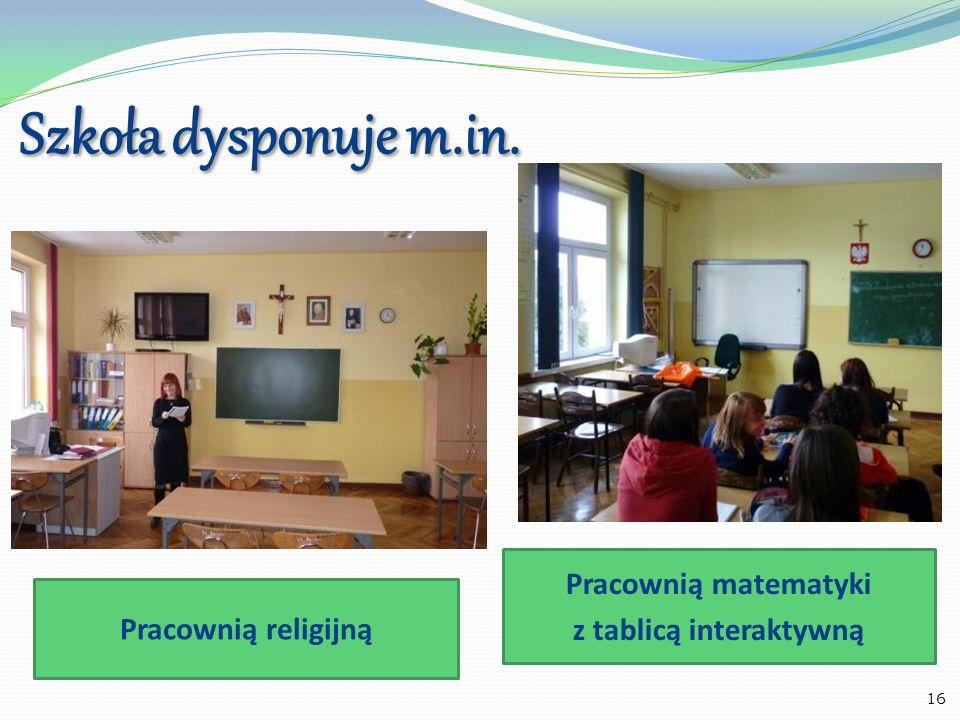 Szkoła dysponuje m.in. Pracownią biologiczną Pracownią geograficzną 17
