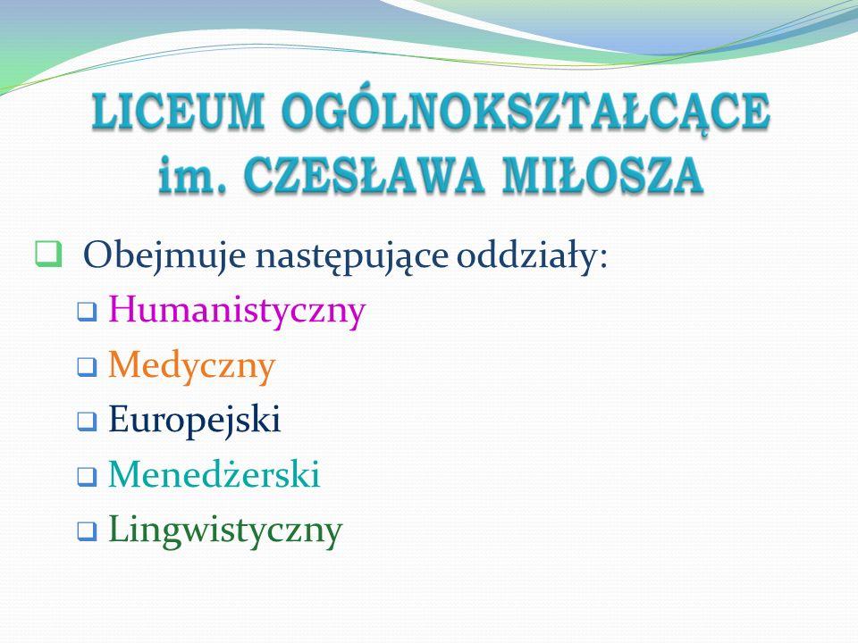 4 Profil Przedmioty z rozszerzonym programem nauczania Przedmioty uwzględnione podczas rekrutacji humanistyczny j.